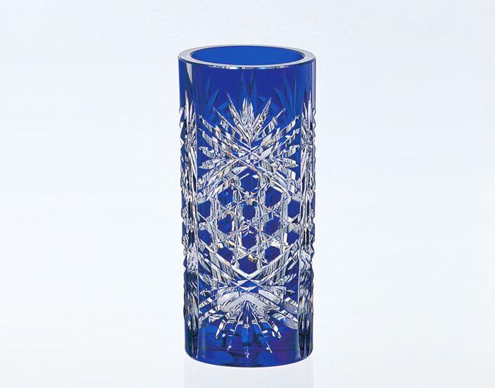【カガミクリスタル】 江戸切子 〈麻の葉に六角籠目 紋〉 花瓶 (青)