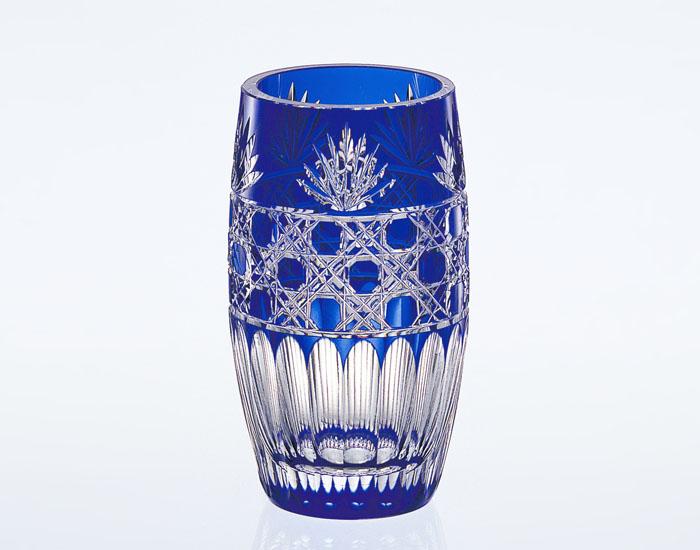 【カガミクリスタル】 江戸切子 〈笹っ葉に八角籠目 紋〉 花瓶 (青)