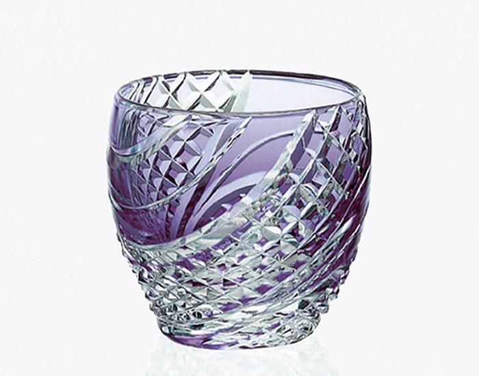 【カガミクリスタル】 江戸切子 〈魚子流し 紋〉 冷酒杯 (紫) 80cc