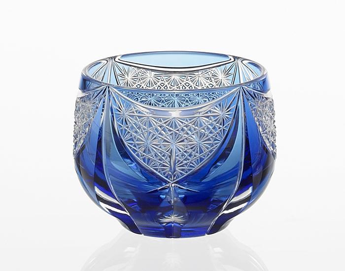【カガミクリスタル】 【伝統工芸士 根本達也】 〈神楽〉 冷酒杯 (青) 100cc