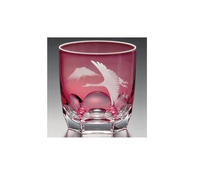 【カガミクリスタル】 【グラヴィール彫刻】 ロックグラス 赤〈鶴と富士山〉 270cc