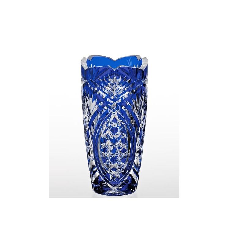【カガミクリスタル】 江戸切子 〈笹っ葉に四角籠目 紋〉 花瓶 (青)