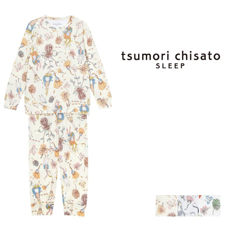【10%OFF】ワコール ツモリチサト コミックフラワー パジャマ 上下セット ロング袖ロングパンツ 全3色 M/L UDQ114