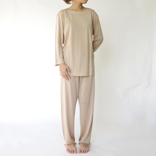 送料無料 シルク パジャマ レディース シルク100 シルク 100% ニット 絹 silk 長袖 ナイティー