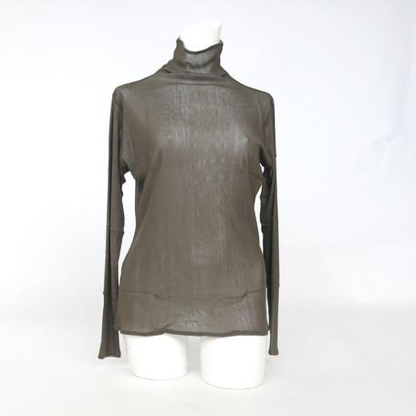 送料無料 シルク メッシュ ハイネック タートル ネック 絹 100% 長袖 Tシャツ レディース 送料無料 tm810 マリーネ シルク tm-810 強撚 シルク 2枚合わせ 透けにくい 仕様