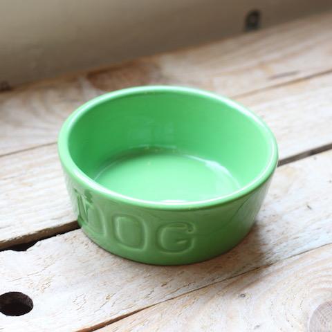 BAUER POTTERY DOG BOWL(S)【パロットグリーン】発色がとてもキレイなドッグボウルです。陶器なので衛生面も安心。【ギフト】【犬 首輪 食器】
