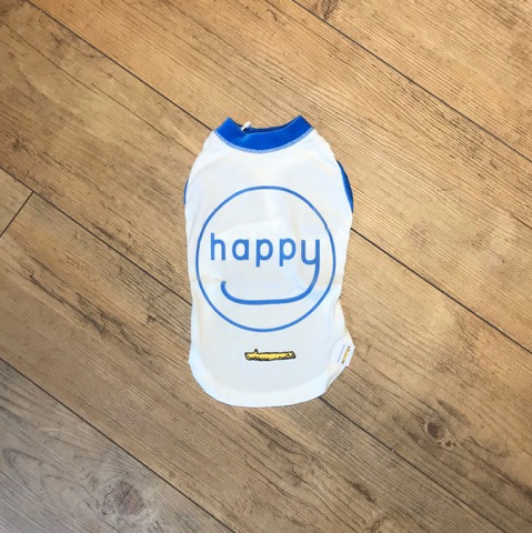 【GEORGE O.L HAPPY Tシャツ/アウトラスト ブルー 3サイズ】NASAの為に開発された素材のTシャツ。暑いときは涼しく、寒いときは暖かくなる機能性素材です。【犬 洋服】