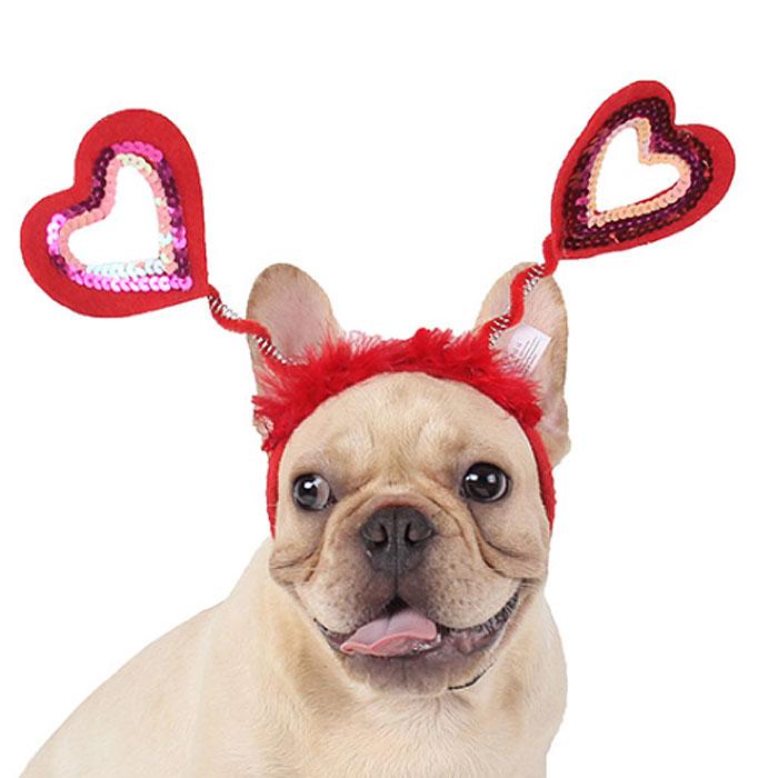 かわいい キュート ハート 変身 ハロウィン パーティーなどに最適 ハートヘアバンド 犬用 猫用 新品 送料無料 カチューシャ ヘアバンド 格安 かぶりもの 父の日 母の日 女の子用 帽子 カツラ キャップ かつら おもしろグッズ 犬屋 ヘアアクセサリー