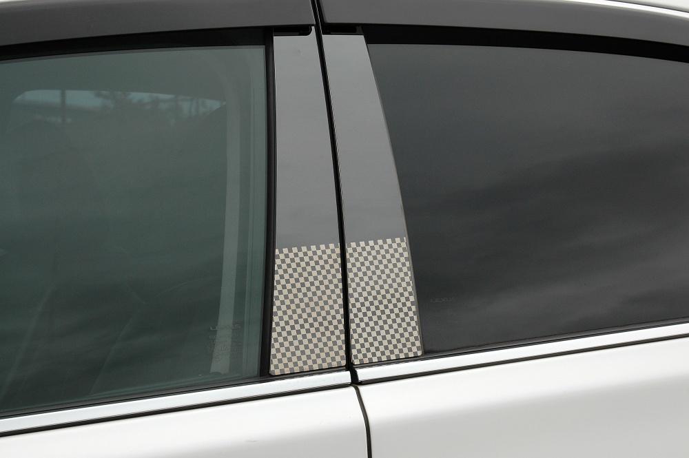 KGJ/NGJ10系IQ ステンレスピラー ファサネイトスタンダードタイプ(チェック柄シリーズ 市松模様風)鏡面HYPERブラック /ピラー/トヨタ/車/車パーツ/ピラーパネル/ステンレス/高品質/送料込み