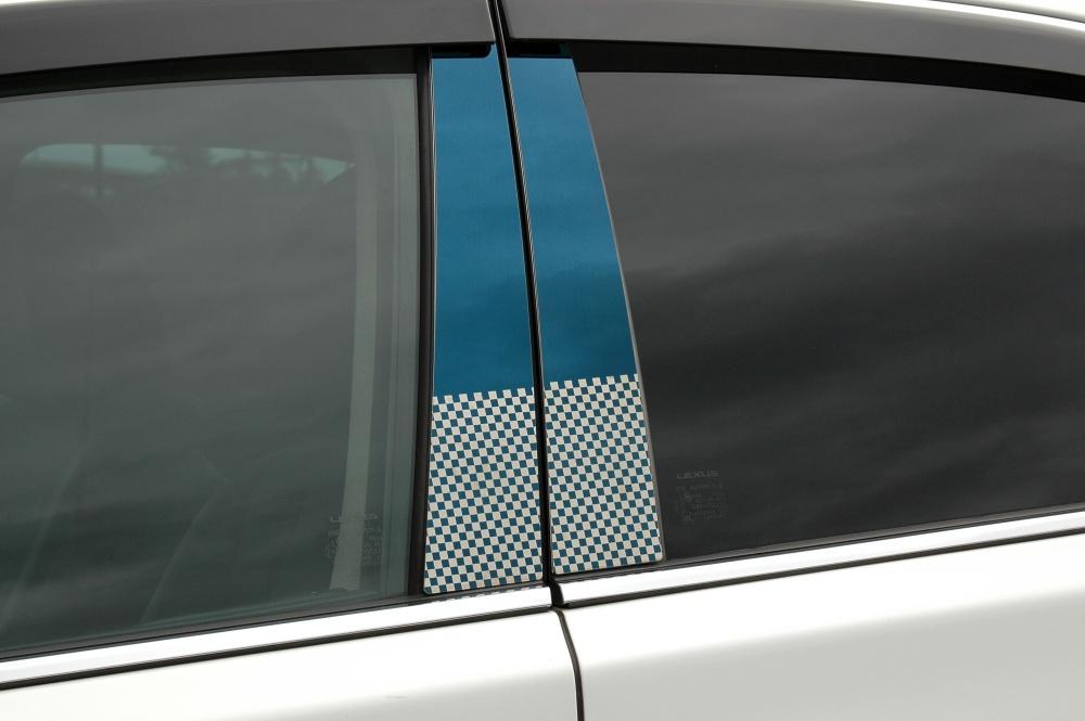 LA300S/LA310S ミライース ステンレスピラー ファサネイトスタンダードタイプ(チェック柄シリーズ 市松模様風)鏡面HYPERブルー///ピラー/ダイハツ/車/車パーツ/ピラーパネル/ステンレス/高品質/送料込み