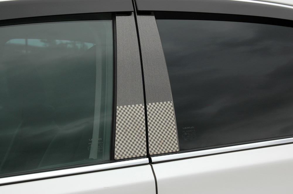 RF3ステップワゴン(前期用) ステンレスピラー ファサネイトスタンダードタイプ(チェック柄シリーズ 市松模様風)ヘアラインブラック/ピラー/ホンダ/車/車パーツ/ピラーパネル/ステンレス/高品質/送料込み