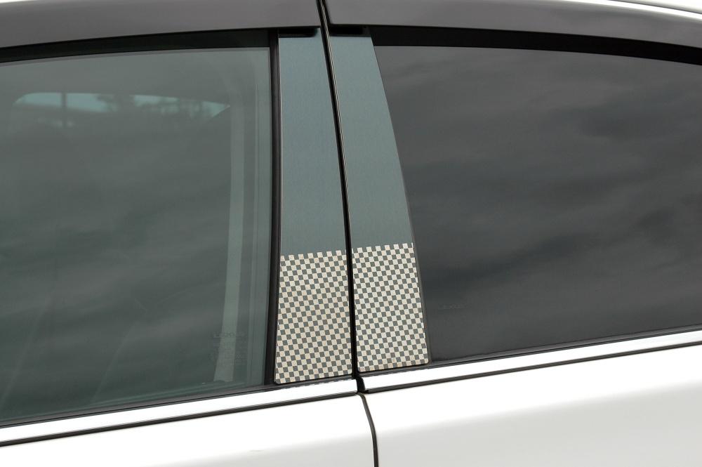 SE3P RXー8 ステンレスピラー ファサネイトスタンダードタイプ(チェック柄シリーズ 市松模様風)ヘアラインブルー/ピラー/マツダ/車/車パーツ/ピラーパネル/ステンレス/高品質/送料込み