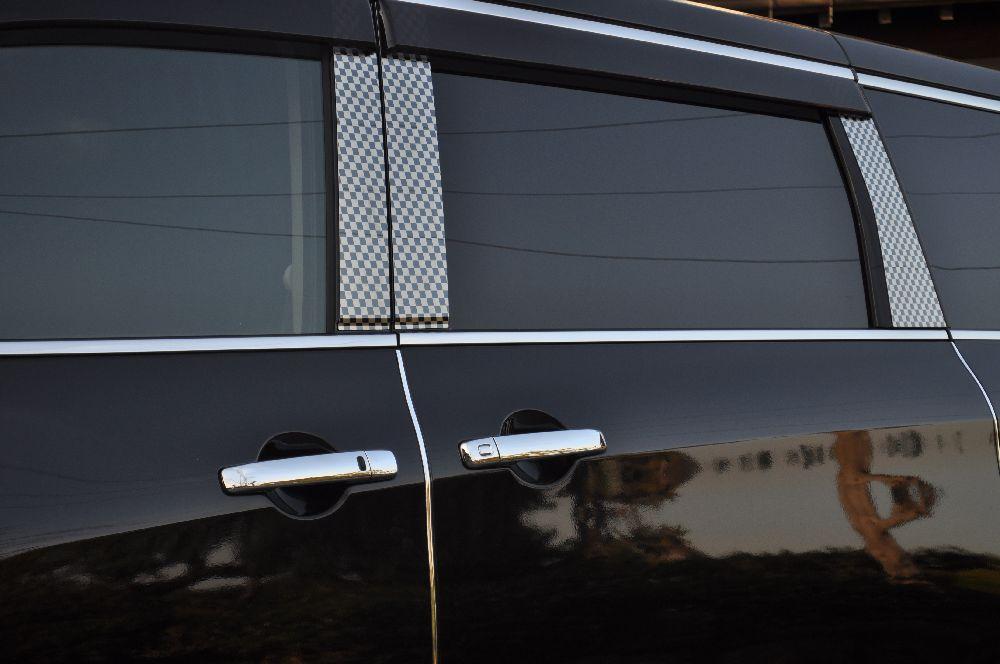 HE33S ラパン ステンレスピラー ファサネイトスペシャルエディションタイプ(チェック柄シリーズ 市松模様風)ヘアライン/ピラー/スズキ/車/車パーツ/ピラーパネル/ステンレス/高品質