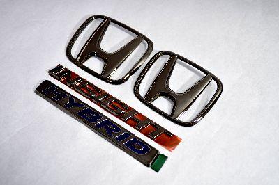 ZE2インサイト ブラックメッキエンブレム4点SET  純正/メッキ/カラーメッキ/セット/単品/車/車パーツ/カーパーツ/高品質/送料無料