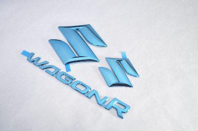MH44 ワゴンR ブルーメッキエンブレム3点SET  純正/メッキ/カラーメッキ/セット/単品/車/車パーツ/カーパーツ/高品質/送料無料
