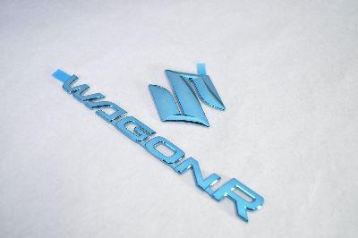 MH23 ワゴンR ブルーメッキエンブレムリア2点  純正/メッキ/カラーメッキ/セット/単品/車/車パーツ/カーパーツ/高品質/送料無料