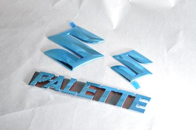 MK21Sパレット ブルーメッキエンブレム3点SET  純正/メッキ/カラーメッキ/セット/単品/車/車パーツ/カーパーツ/高品質/送料無料