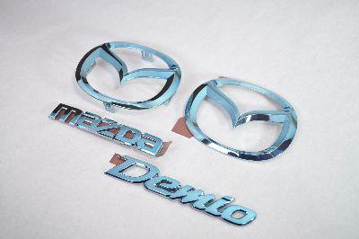 DE3FS/DE5FS デミオ ブルーメッキエンブレム4点SET  純正/メッキ/カラーメッキ/セット/単品/車/車パーツ/カーパーツ/高品質/送料無料