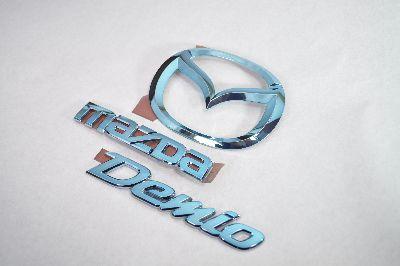 DE3FS/DE5FS デミオ ブルーメッキエンブレムリア3点SET  純正/メッキ/カラーメッキ/セット/単品/車/車パーツ/カーパーツ/高品質/送料無料
