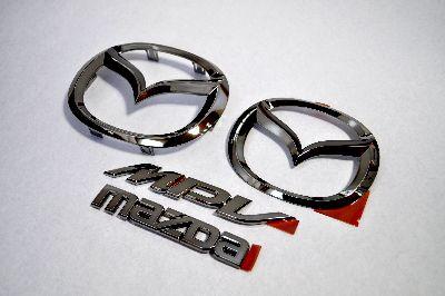 LY3P MPV ブラックメッキエンブレム4点SET  純正/メッキ/カラーメッキ/セット/単品/車/車パーツ/カーパーツ/高品質/送料無料