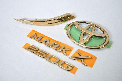 GRX120系マークX2.50G ゴールドメッキエンブレム5点SET  純正/メッキ/カラーメッキ/セット/単品/車/車パーツ/カーパーツ/高品質/送料無料