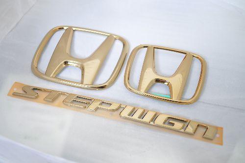 RG1ステップワゴン ゴールドエンブレム3点SET  純正/メッキ/カラーメッキ/セット/単品/車/車パーツ/カーパーツ/高品質/送料無料