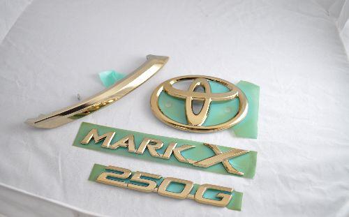 GRX130マークX ゴールドメッキエンブレム4点SET  純正/メッキ/カラーメッキ/セット/単品/車/車パーツ/カーパーツ/高品質/送料無料