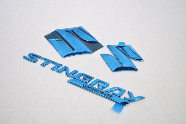 MH34 スティングレー ブルーメッキエンブレム3点SET  純正/メッキ/カラーメッキ/セット/単品/車/車パーツ/カーパーツ/高品質/送料無料