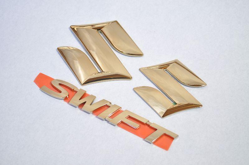 ZC72 ZC31 ZC32 ZC33 スイフト ゴールドメッキエンブレム3点SET  純正/メッキ/カラーメッキ/セット/単品/車/車パーツ/カーパーツ/高品質/送料無料