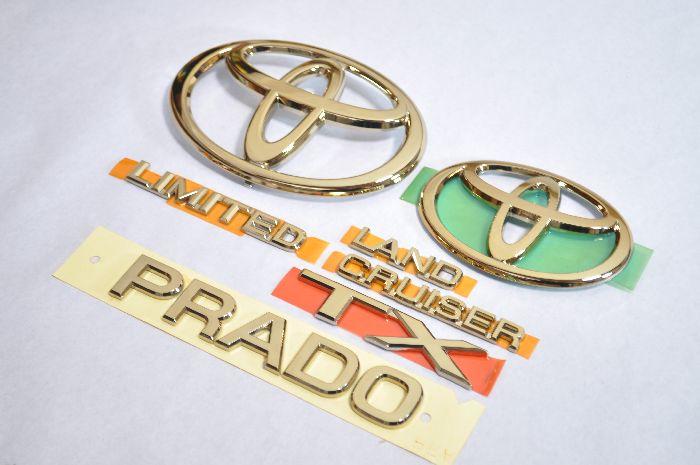 TRJ120 ランドクルーザープラド ゴールドメッキエンブレム6点SET  純正/メッキ/カラーメッキ/セット/単品/車/車パーツ/カーパーツ/高品質/送料無料