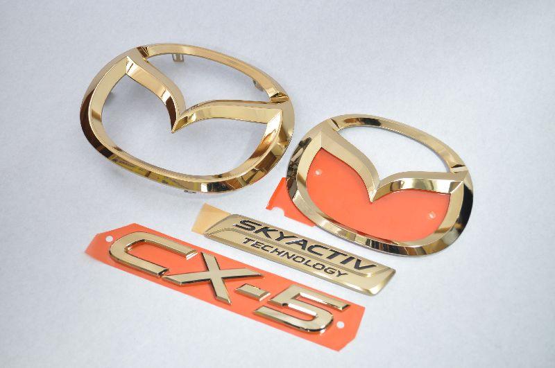KEEFW CX-5 前期 ゴールドメッキエンブレム4点SET  純正/メッキ/カラーメッキ/セット/単品/車/車パーツ/カーパーツ/高品質/送料無料
