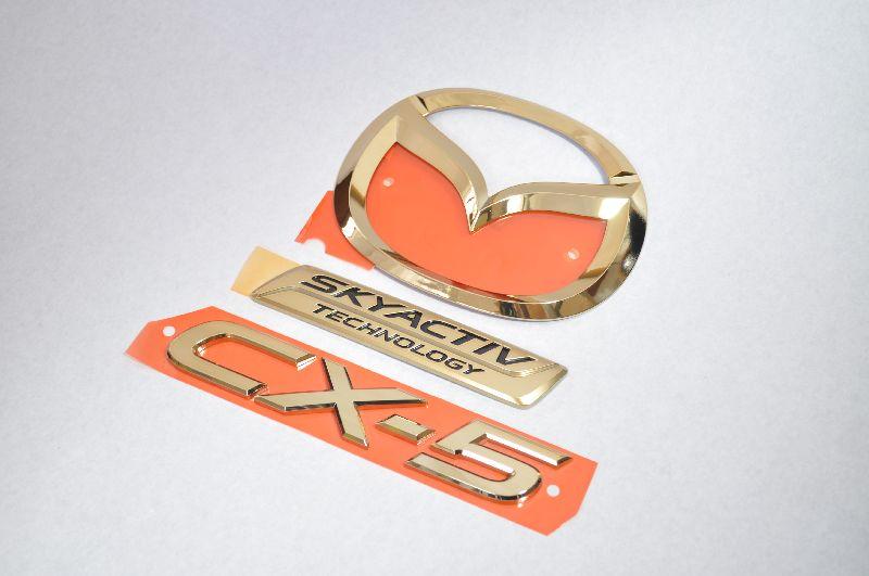 KEEFW CX-5 前期 ゴールドメッキエンブレムリア3点SET  純正/メッキ/カラーメッキ/セット/単品/車/車パーツ/カーパーツ/高品質/送料無料