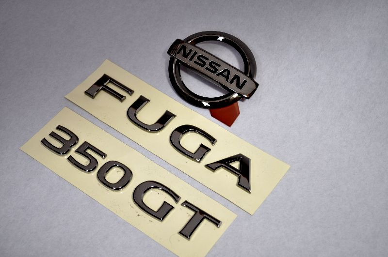 Y50系フーガ 350GT ブラックメッキエンブレムリア3点SET  純正/メッキ/カラーメッキ/セット/単品/車/車パーツ/カーパーツ/高品質/送料無料