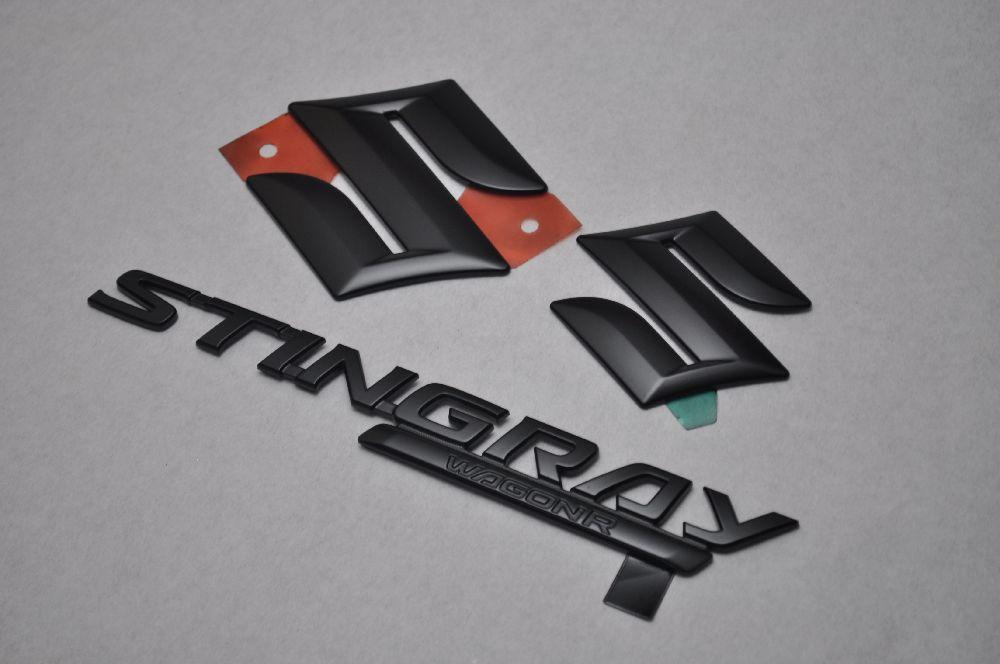 MH23スティングレー マットブラックエンブレム(艶消し) 3点SET  純正/メッキ/艶消し/黒/セット/単品/車/車パーツ/カーパーツ/高品質/送料無料