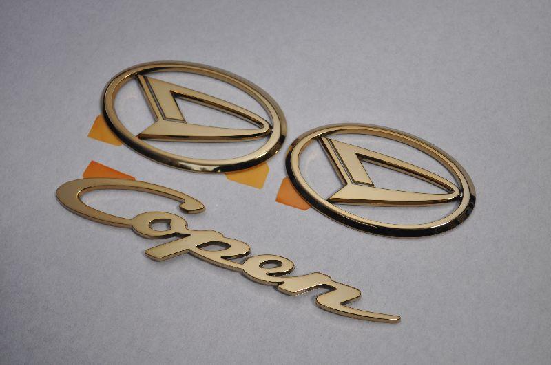 L880 コペン ゴールドメッキエンブレム3点SET  純正/メッキ/カラーメッキ/セット/単品/車/車パーツ/カーパーツ/高品質/送料無料
