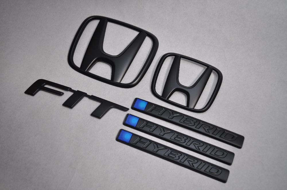 GP5 フィットハイブリッド マットブラックエンブレム(艶消し) 6点SET  純正/メッキ/艶消し/黒/セット/単品/車/車パーツ/カーパーツ/高品質/送料無料