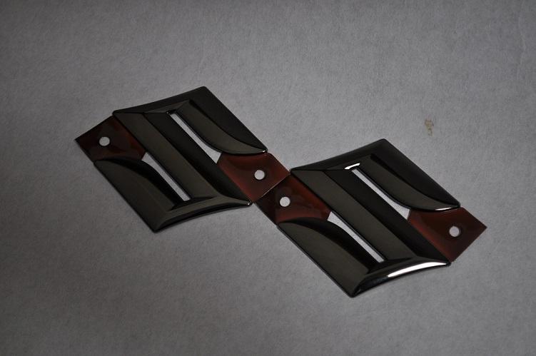 MR31S ハスラー ブラックメッキエンブレムフロント/リアSマークSET  純正/メッキ/カラーメッキ/セット/単品/車/車パーツ/カーパーツ/高品質/送料無料
