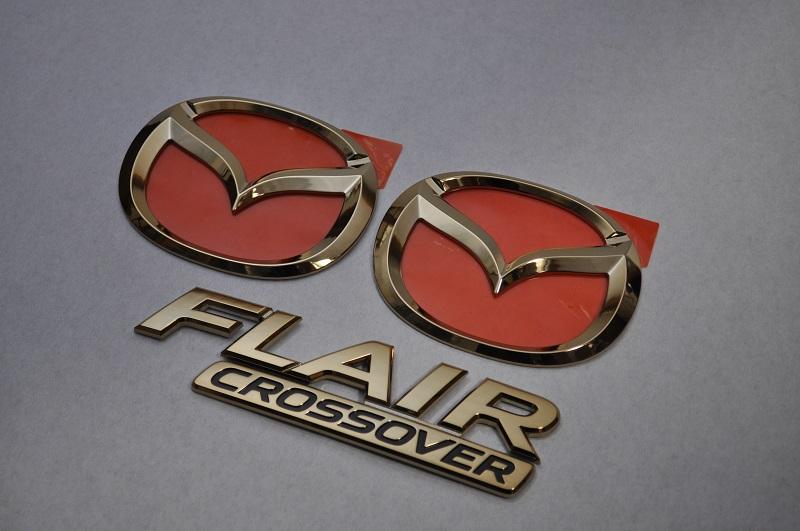 MS31S フレアクロスオーバー ゴールドメッキエンブレム3点SET  純正/メッキ/カラーメッキ/セット/単品/車/車パーツ/カーパーツ/高品質/送料無料