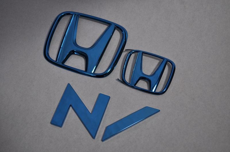 JF1/2 N BOX スラッシュ ブルーメッキエンブレム3点SET  純正/メッキ/カラーメッキ/セット/単品/車/車パーツ/カーパーツ/高品質/送料無料