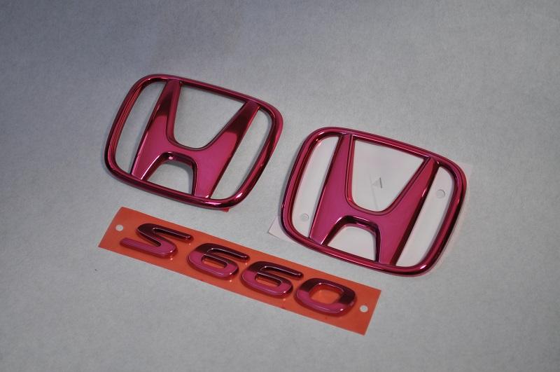 S660 JW5 レッドメッキエンブレム3点SET  純正/メッキ/カラーメッキ/セット/単品/車/車パーツ/カーパーツ/高品質/送料無料