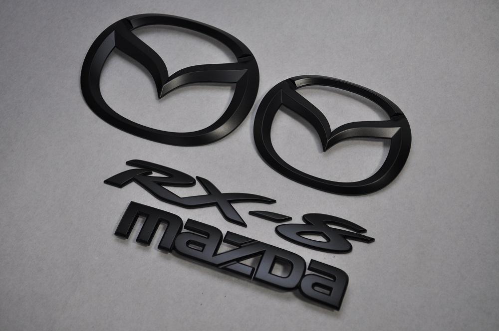 SE3P RXー8 マットブラックエンブレム(艶消し) 4点SET  純正/メッキ/艶消し/黒/セット/単品/車/車パーツ/カーパーツ/高品質/送料無料
