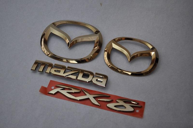 SE3P RXー8 ゴールドメッキエンブレム4点SET  純正/メッキ/カラーメッキ/セット/単品/車/車パーツ/カーパーツ/高品質/送料無料