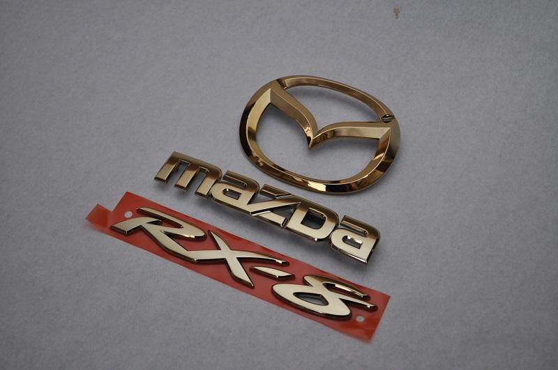 SE3P RXー8 ゴールドメッキエンブレムリア3点SET  純正/メッキ/カラーメッキ/セット/単品/車/車パーツ/カーパーツ/高品質/送料無料