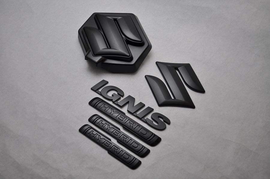 FF21S イグニス マットブラックエンブレム(艶消し) 6点セット  純正/メッキ/艶消し/黒/セット/単品/車/車パーツ/カーパーツ/高品質/送料無料
