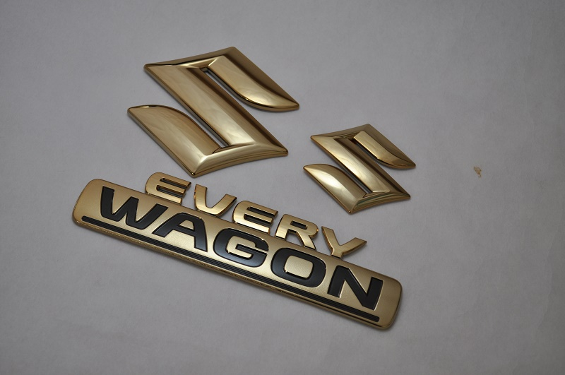 DA17 エブリィワゴン ゴールドメッキエンブレム3点SET  純正/メッキ/カラーメッキ/セット/単品/車/車パーツ/カーパーツ/高品質/送料無料