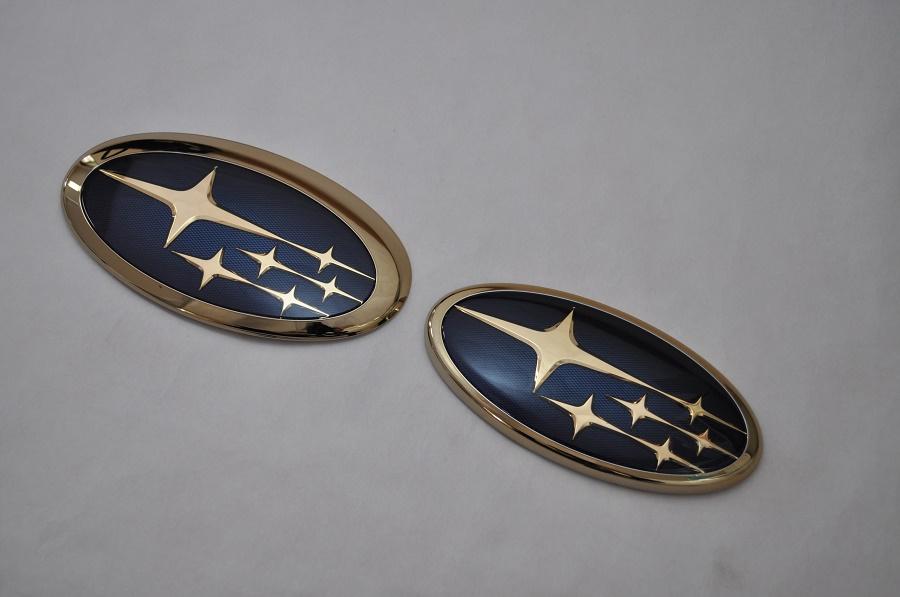 SJ フォレスター SJ5/SJG ゴールドエンブレム フロント/リアSET  純正/メッキ/カラーメッキ/セット/単品/車/車パーツ/カーパーツ/高品質/送料無料