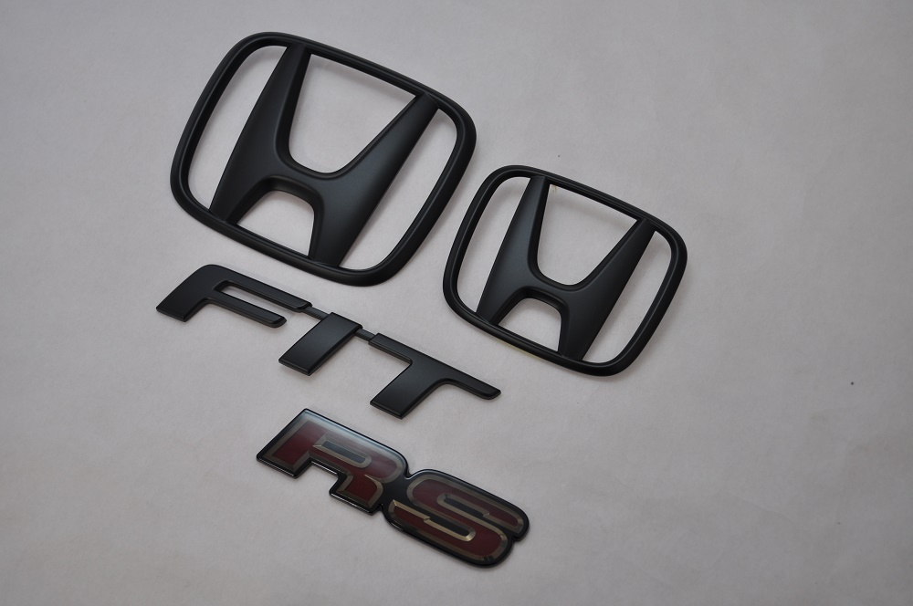 GK5 フィットRS マットブラックエンブレム(艶消し) 4点SET  純正/メッキ/艶消し/黒/セット/単品/車/車パーツ/カーパーツ/高品質/送料無料