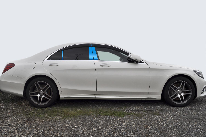 【最鏡面】W222ベンツ ステンレスピラー鏡面HYPERブルー ピラー/メルセデス/車/車パーツ/ピラーパネル/ステンレス/高品質/送料込み