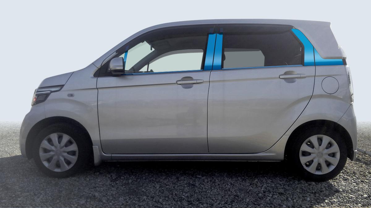 【最鏡面】NーWGN JH1/2 カスタム共通 ステンレスピラー鏡面HYPERブルー ピラー/ホンダ/車/車パーツ/ピラーパネル/ステンレス/高品質/送料込み
