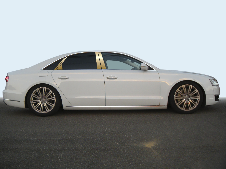 【ハイクオリティー】アウディ A8 4HC*** ステンレスピラーヘアラインゴールド ピラー/アウディ/車/車パーツ/ピラーパネル/ステンレス/高品質/送料込み